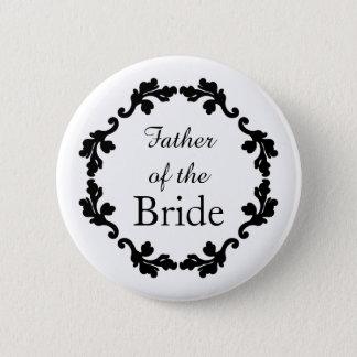Elegant wedding father of the bride pinback button