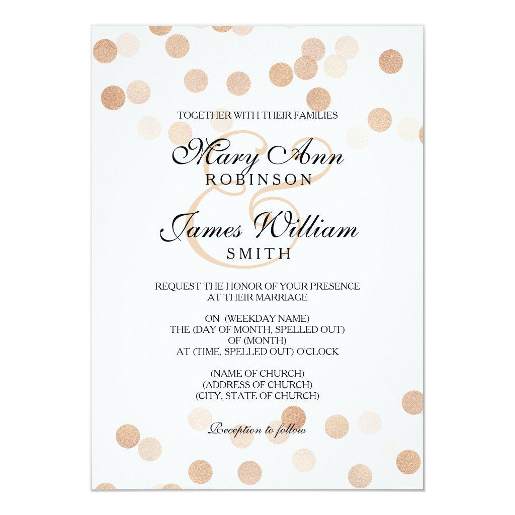 Elegant Wedding Faux Copper Foil Glitter Lights Invitation