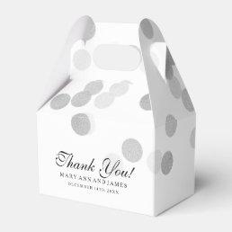 Elegant Wedding Faux Silver Foil Glitter Lights Favor Box