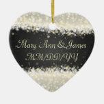 Elegant Wedding Favor Dazzling Sparkles Black Ceramic Ornament