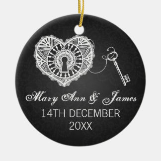Elegant Wedding Favor Key To My Heart Black Ceramic Ornament