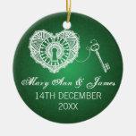 Elegant Wedding Favor Key To My Heart Green Ceramic Ornament