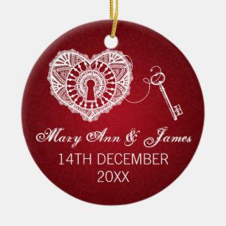 Elegant Wedding Favor Key To My Heart Red Ceramic Ornament