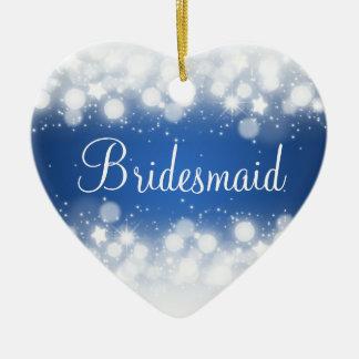 Elegant Wedding Favor  Magic Sparkle Blue Ceramic Ornament