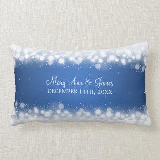 Elegant Wedding Favor  Magic Sparkle Blue Lumbar Pillow