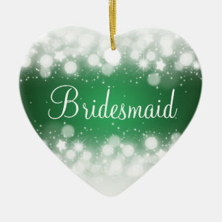 Elegant Wedding Favor  Magic Sparkle Green Ceramic Ornament