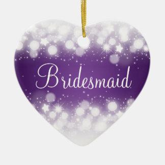Elegant Wedding Favor  Magic Sparkle Purple Ceramic Ornament