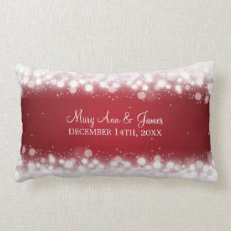 Elegant Wedding Favor  Magic Sparkle Red Lumbar Pillow