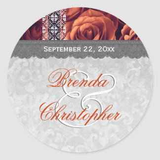 Elegant Wedding Favor ORANGE Roses and Lace V09 Classic Round Sticker