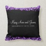 Elegant Wedding Favor Party Sparkles Purple Pillow