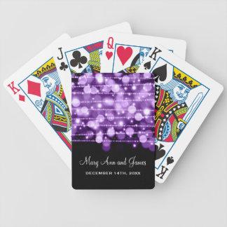 Elegant Wedding Favor Party Sparkles Purple Poker Deck