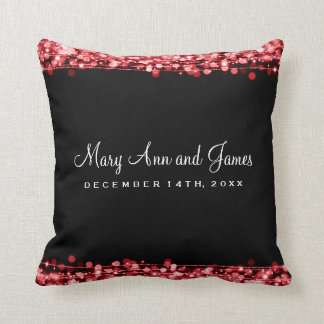 Elegant Wedding Favor Party Sparkles Red Throw Pillow
