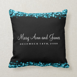 Elegant Wedding Favor Party Sparkles Turquoise Throw Pillow
