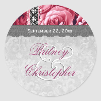 Elegant Wedding Favor PINK Roses and Lace V10 Classic Round Sticker