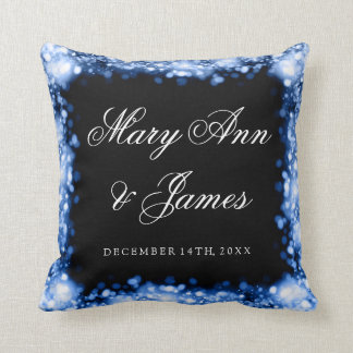 Elegant Wedding Favor Sparkling Lights Sapphire Throw Pillow