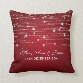 Elegant Wedding Favor Sparkling Lines Red Throw Pillow