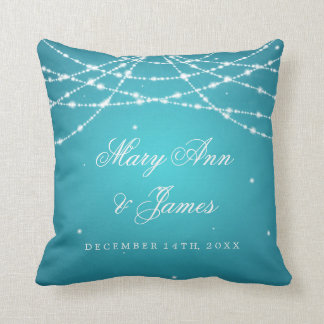 Elegant Wedding Favor Sparkling String Turquoise Throw Pillow
