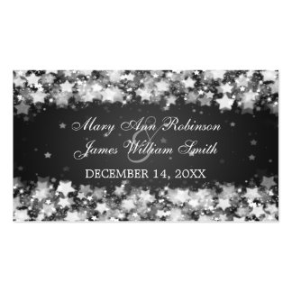 Elegant Wedding Favor Tag Dazzling Stars Black Double-Sided Standard Business Cards (Pack Of 100)