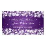 Elegant Wedding Favor Tag Dazzling Stars Purple Business Card Template
