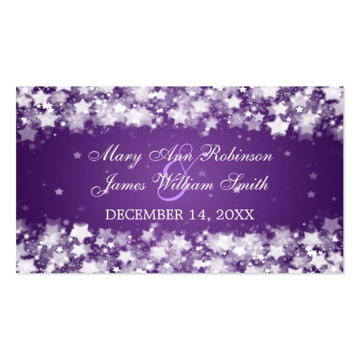 Elegant Wedding Favor Tag Dazzling Stars Purple Business Card Template