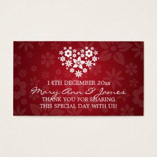 Elegant Wedding Favor Tag Flowery Heart Red