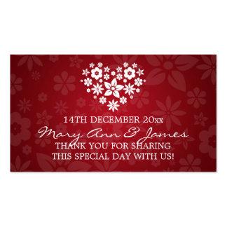Elegant Wedding Favor Tag Flowery Heart Red Business Card