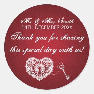 Elegant Wedding Favor Tag Key To My Heart Red Classic Round Sticker