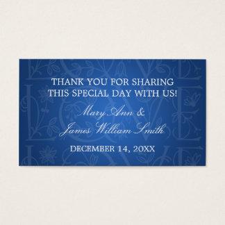 Elegant Wedding Favor Tag Love Flourish Blue