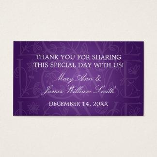 Elegant Wedding Favor Tag Love Flourish Purple