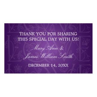 Elegant Wedding Favor Tag Love Flourish Purple Business Card