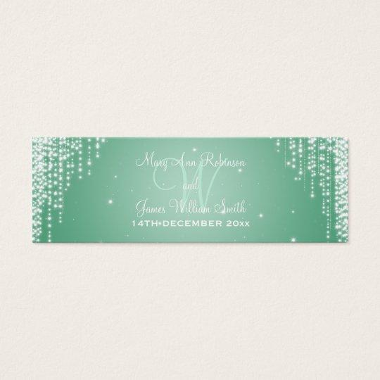 Elegant Wedding Favor Tag Night Dazzle Mint Green
