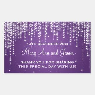 Elegant Wedding Favor Tag Night Dazzle Purple Rectangular Sticker