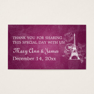 Elegant Wedding Favor Tag Romantic Paris Berry Pin