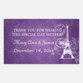 Elegant Wedding Favor Tag Romantic Paris Purple