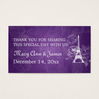 Elegant Wedding Favor Tag Romantic Paris Purple