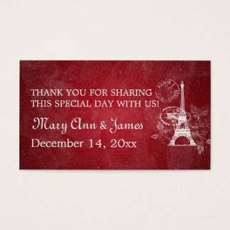 Elegant Wedding Favor Tag Romantic Paris Red