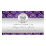 Elegant Wedding Favor Tag Royal Crown Purple Double-Sided Standard Business Cards (Pack Of 100)