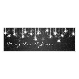 Elegant Wedding Favor Tag Shimmering Stars Black Business Card Template