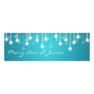 Elegant Wedding Favor Tag Shimmering Stars Blue Double-Sided Mini Business Cards (Pack Of 20)