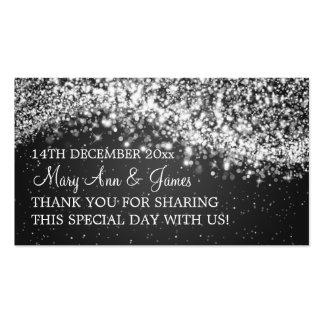 Elegant Wedding Favor Tag Sparkling Wave Black Business Card Template