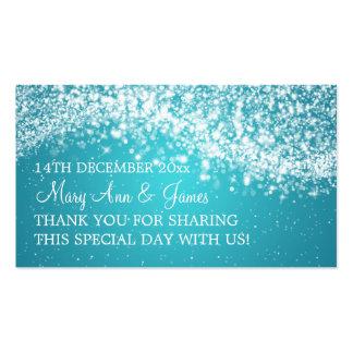Elegant Wedding Favor Tag Sparkling Wave Blue Double-Sided Standard Business Cards (Pack Of 100)