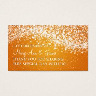 Elegant Wedding Favor Tag Sparkling Wave Orange