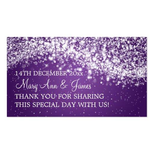 Elegant Wedding Favor Tag Sparkling Wave Purple Business Cards