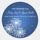 Elegant Wedding Favor Tag Summer Sparkle Sapphire Classic Round Sticker