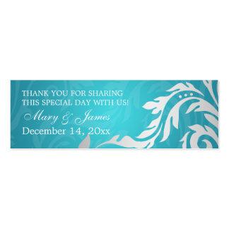 Elegant Wedding Favor Tag Swirly Flourish Aqua Blu Double-Sided Mini Business Cards (Pack Of 20)