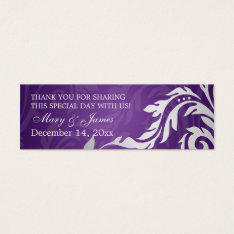 Elegant Wedding Favor Tag Swirly Flourish Purple at Zazzle
