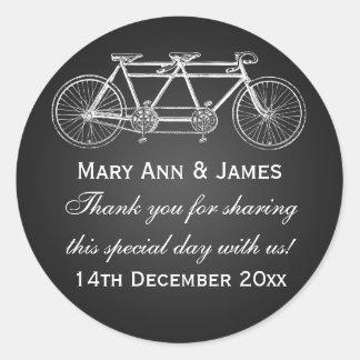 Elegant Wedding Favor Tag Tandem Bike Black