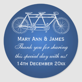 Elegant Wedding Favor Tag Tandem Bike Blue