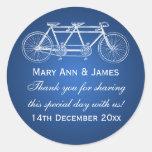 Elegant Wedding Favor Tag Tandem Bike Blue Sticker