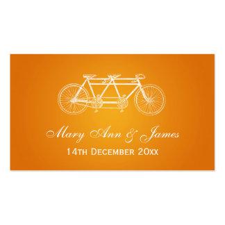 Elegant Wedding Favor Tag Tandem Bike Orange Business Card